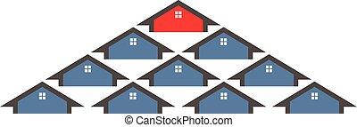sélection, maison, graphique, illustration, vecteur, group., conception