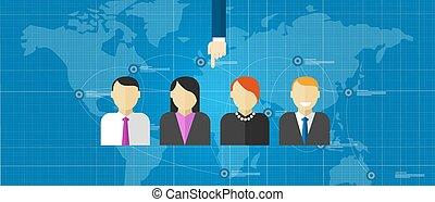 sélection, mondiale, gens, employé, ligne, annonce, groupe, sélectionné, hoc, recrutement, équipe, spécial