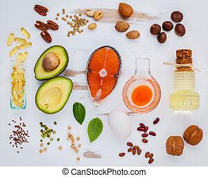 sélection, nourriture, 3, oméga, sources
