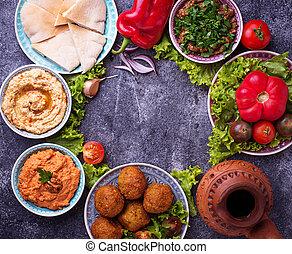 sélection, oriental, dishes., milieu, arabe, ou