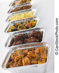 sélection, plats, loin, fleuret, indien, prendre, récipients