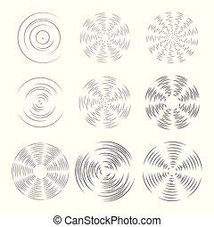 sélection, silhouette, objets, voile de surface, bourdon, aircraft., pattern., isolé, ou, pinwheel., vecteur, conception, arrière-plan., lumière, hélice, ventilateur, rotation, rotation, éléments