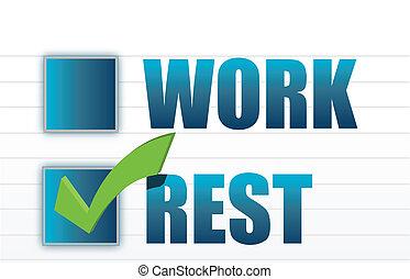 sélection, sur, travail, repos, marque, chèque
