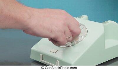 sélectionne, disque, cadrans, numéro téléphone, haut, main, finger., telephone.