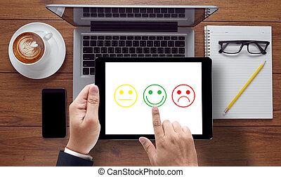 sélectionner, business, heureux, homme, satisfaction, evaluation?
