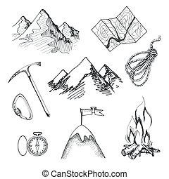 s'élever montagne, camping, icônes