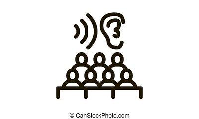 séminaire, animation, écoute, icône, audience