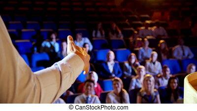 séminaire, business, auditorium, homme affaires, étape, parler, 4k