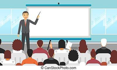 séminaire commercial, orateur, presentation.