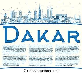 sénégal, bâtiments, space., ville, bleu, contour, copie, horizon, dakar