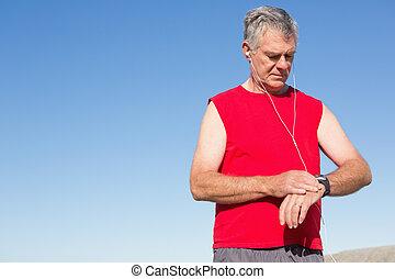 sénior ativo, homem faz jogging, ligado, a, cais
