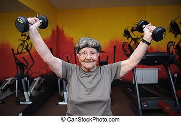 sénior ativo, mulher, exercitar