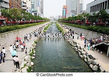 séoul, corée, cheonggyecheon, sud