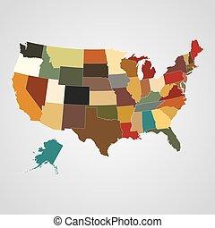séparé, carte, uni, states., illustration, etats, vecteur