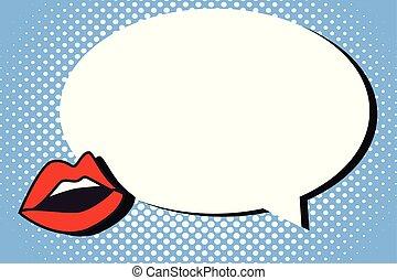 séparé, concept, résumé, moderne, lèvres, conception, espace vide, à côté de, parole, géométrique, bulle, rouges, plat, illustration affaires, halftone, fond, ombre, copie, élément, vecteur, vide, rond