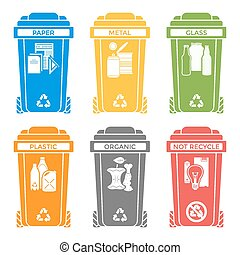 séparé, déchets, icônes, solide, étiquettes, couleurs, divers, casiers