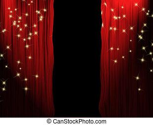 séparé, rideaux rouges, théâtre