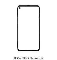 séparé, smartphone, non, cadre, isolé, réaliste, appareil photo, noir, arrière-plan., vide, branché, blanc écran