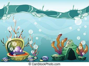 séparé, sous-marin, vecteur, art, couches, jeu, arrière-plan animation, dessin animé