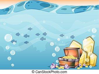 séparé, sous-marin, vecteur, art, couches, trésor, jeu, ...