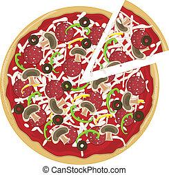 séparément, tranche pizza