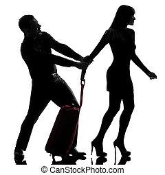 séparation, femme, silhouette, fond, conflit, couple, partir, isolé, dos, studio, tenue, blanc, une, caucasien, homme