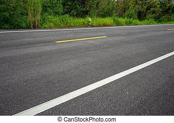 séparation, lignes route, texture, asphalte
