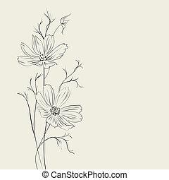 sépia, fleur, sur
