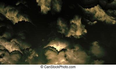 sépia, nuages, orage