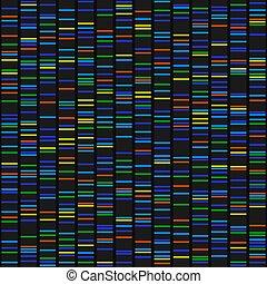 séquence adn, couleur, résultats, seamless, arrière-plan., vecteur, noir