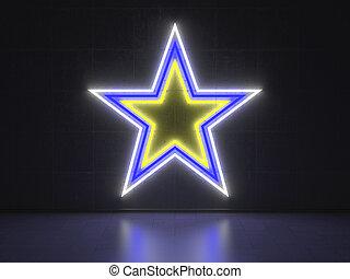 série, étoile, -, enseignes néon