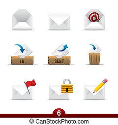 série, ícone, -, correio