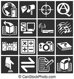 série, ícone, jogo, internet, teia