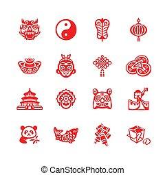 série, ícones, |, chinês, micro