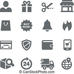série, ícones, -, e-shopping, utilidade