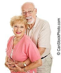 série, -, óptico, feliz, seniores