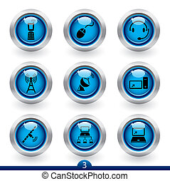 série, 3, icône, communication