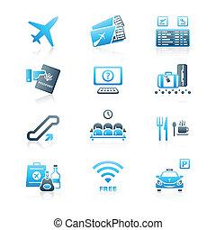 série, aéroport, marin, |, icônes