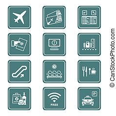 série, aéroport, |, sarcelle, icônes