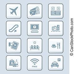 série, aéroport, technologie, |, icônes