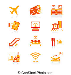 série, aeroporto, ícones, suculento, |