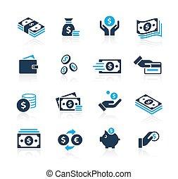 série, azure, dinheiro, //, ícones