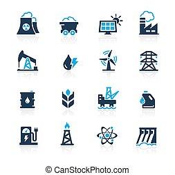 série, azure, energia, //, ícones