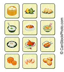 série, bambou, |, chinois, icônes