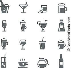 série, bebidas, ícones, -, utilidade