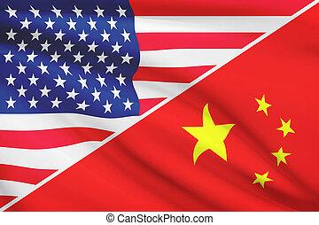 série, china., flags., a froissé, usa