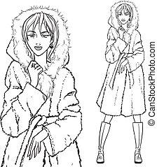 série, coat., -, femme, fourrure
