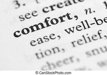 série, conforto, -, dicionário