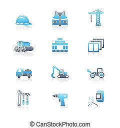 série, construção, marinho, |, ícones