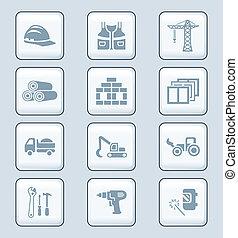 série, construction, technologie, |, icônes